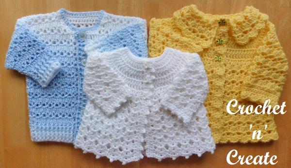 Free baby crochet patterns-Three coats