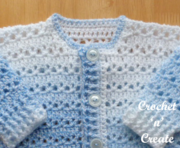 Free button cardigan UK baby crochet pattern