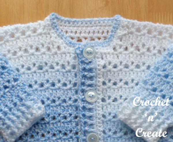 Free button cardigan UK baby crochet pattern
