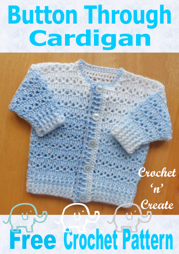 Free baby crochet pattern-button through cardigan