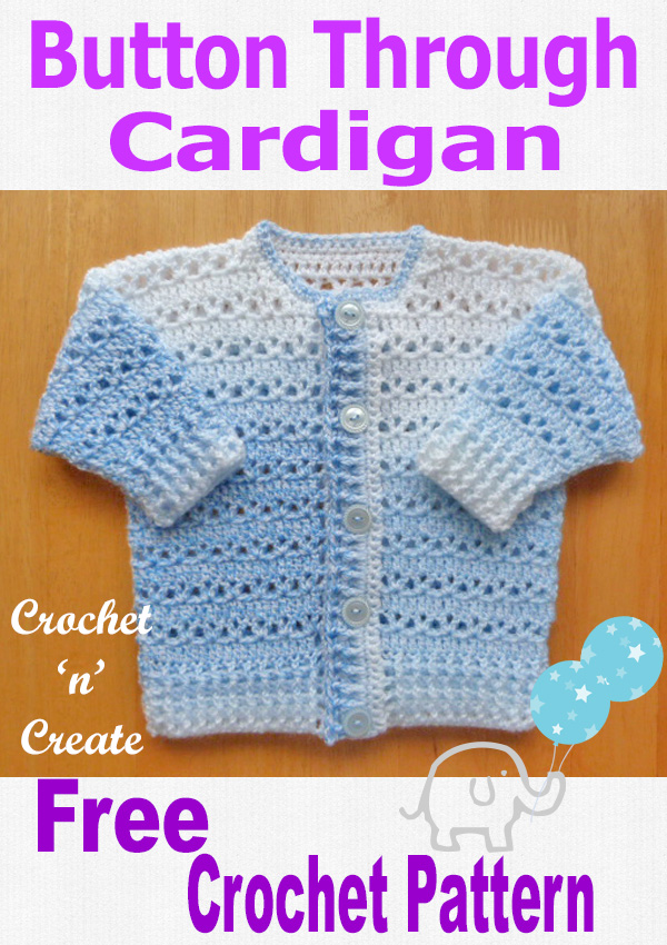 Free baby crochet pattern-button cardigan uk