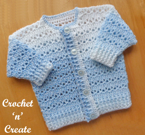 Free baby crochet pattern-button cardigan