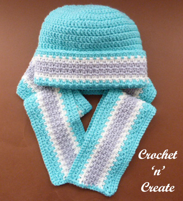 childs woven scarf-hat free crochet pattern