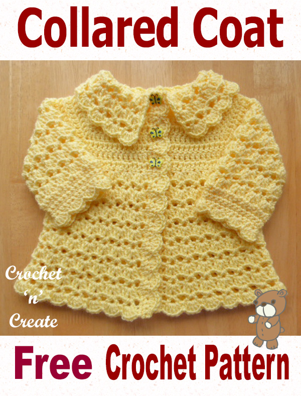 Free baby crochet pattern collared coat uk