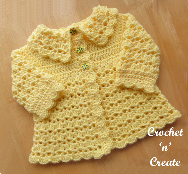 Free baby crochet pattern collared coat