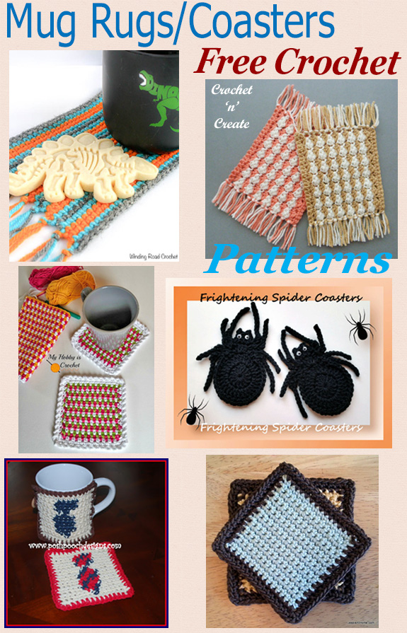 Free crochet pattern roundup mug rugs-coasters