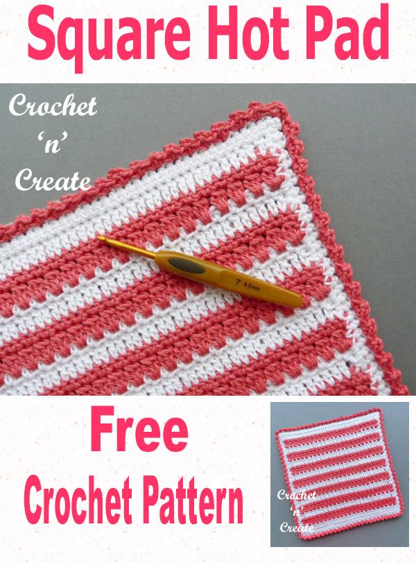 Free crochet pattern-square hot pad