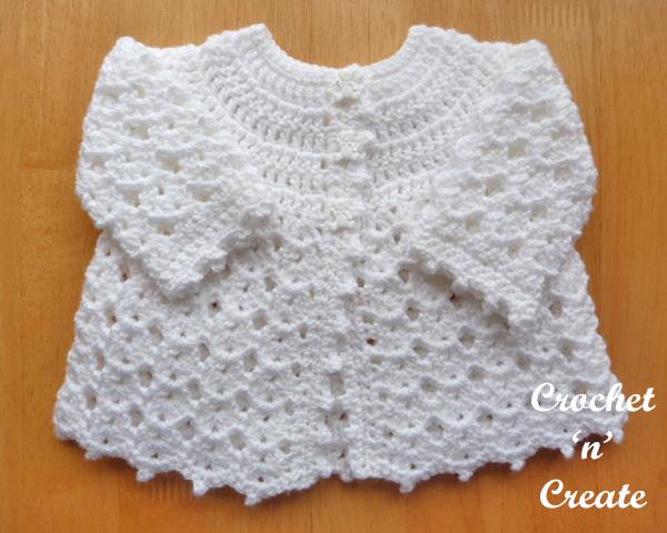 Free baby crochet pattern-picot edge cardigan