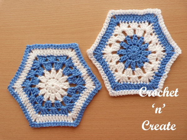 Afghan hexagon UK free crochet pattern