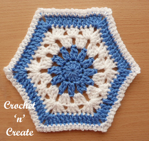 Free afghan hexagon UK crochet pattern