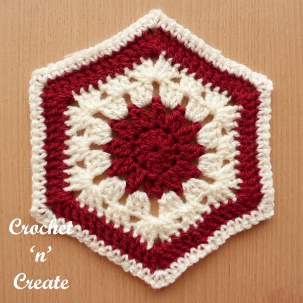 free afghan hexagon crochet pattern
