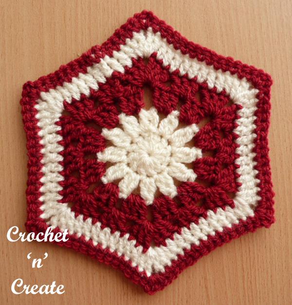 Afghan hexagon free crochet pattern