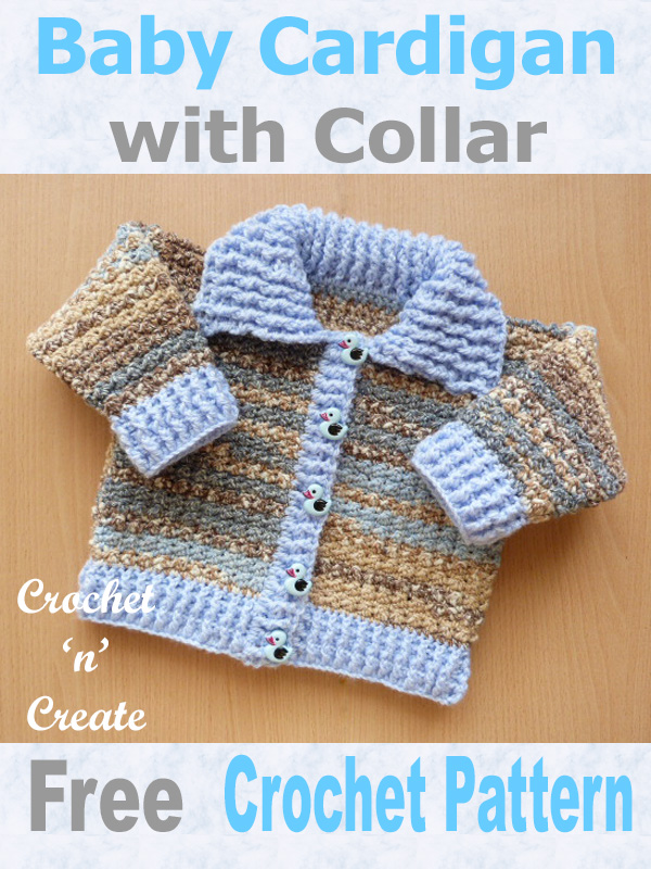 Free baby crochet pattern ribbed cardigan-collar uk