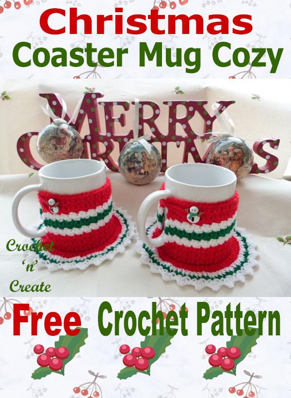 Free crochet pattern christmas coaster mug cosy