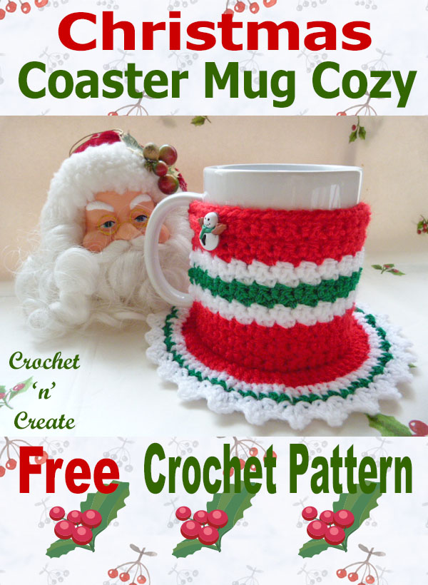 Free crochet pattern christmas coaster mug cosy uk