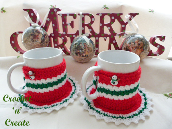 Free crochet pattern christmas coaster mug cozy