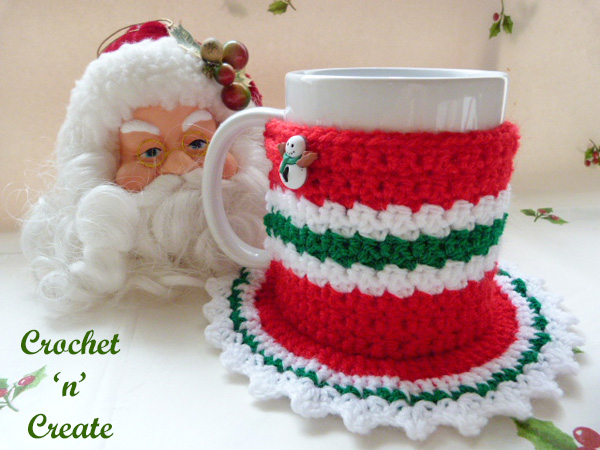 Free Crochet Pattern Christmas Coaster Mug Cozy UK