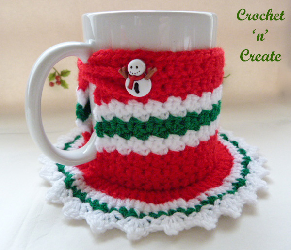 Free christmas coaster mug cosy crochet pattern