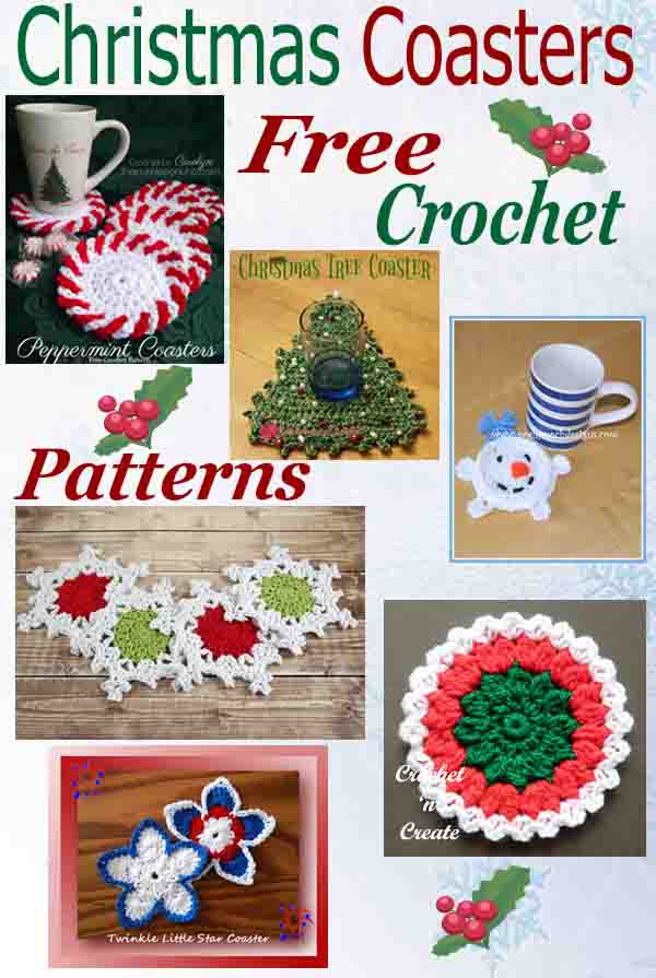 Free crochet pattern roundup-christmas coasters