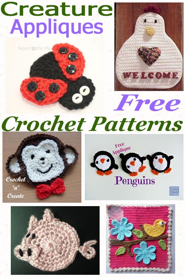 Free crochet pattern roundup creature appliques