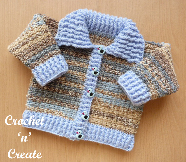 Free baby crochet pattern cardigan-collar uk