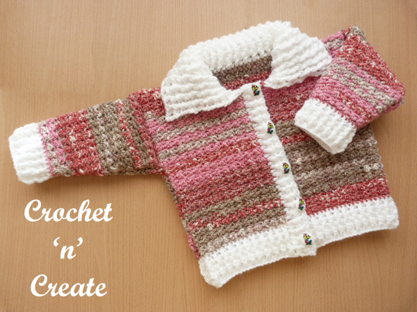Free baby crochet pattern ribbed cardigan-collar