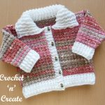 Free crochet baby cardigan with collar pattern