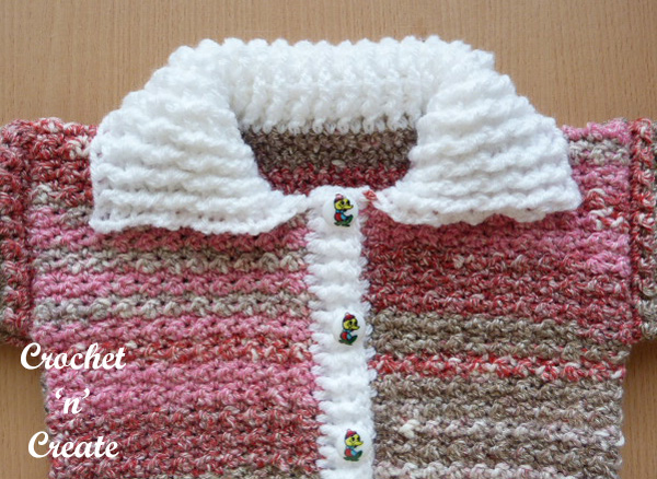 Free baby cardigan with collar crochet pattern