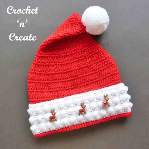 Christmas santa hat free crochet pattern