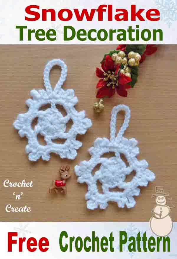 Free crochet pattern snowflake tree decoration
