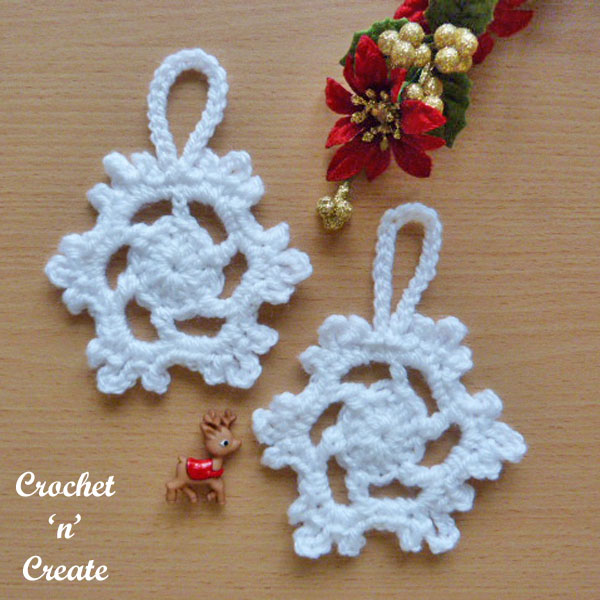Snowflake tree decoration free crochet pattern UK
