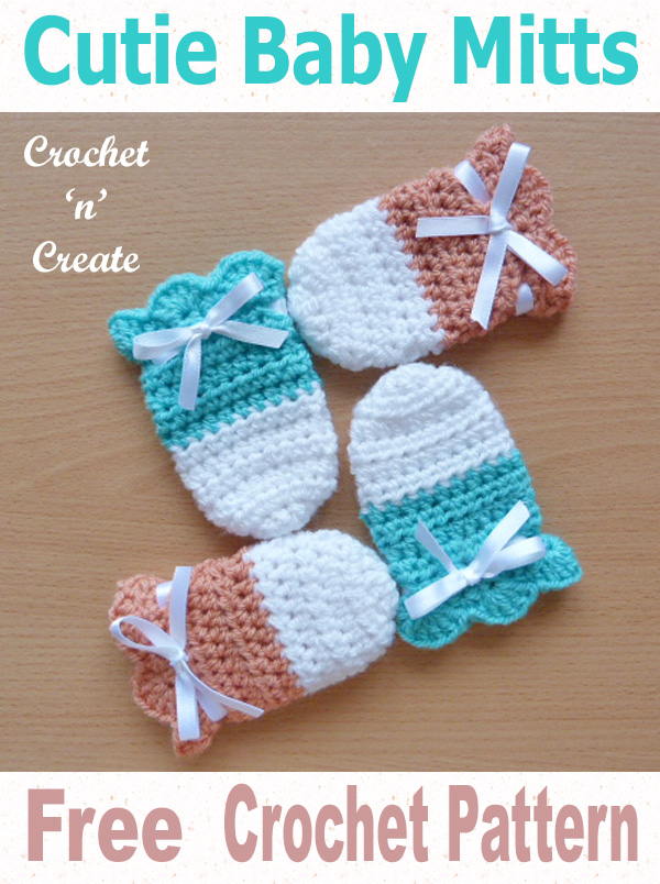 Cutie baby mitts free crochet pattern uk