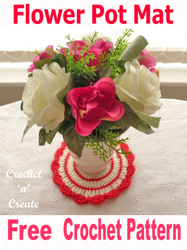 Flower pot mat free crochet pattern