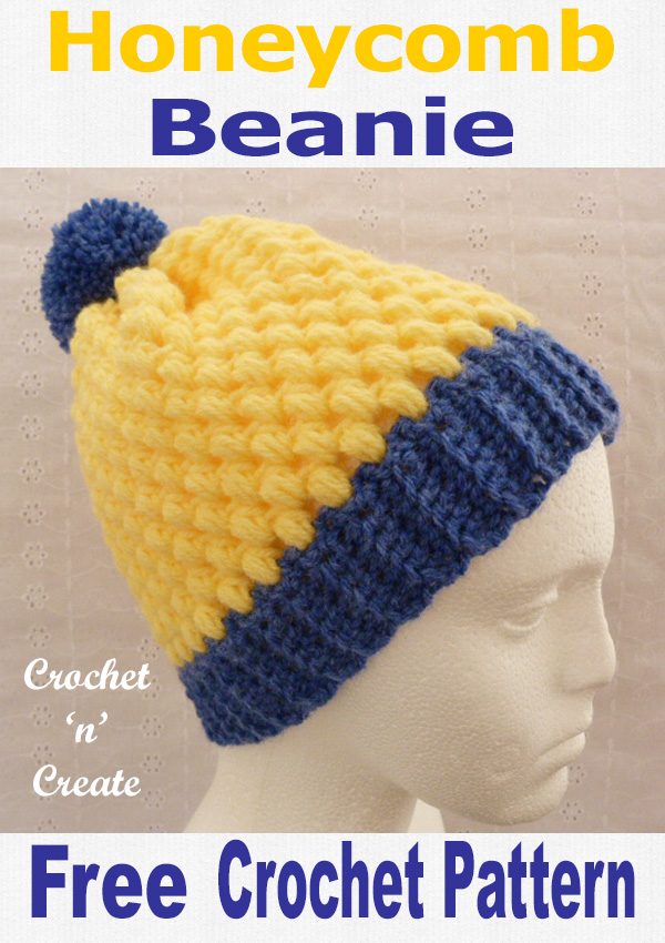 Crochet honeycomb beanie hat crochet pattern