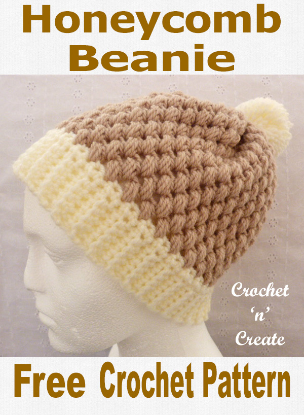 Free crochet pattern honeycomb beanie uk1