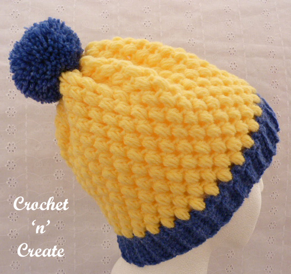 Crochet honeycomb beanie hat pattern