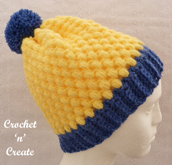 Free crochet pattern honeycomb beanie hat