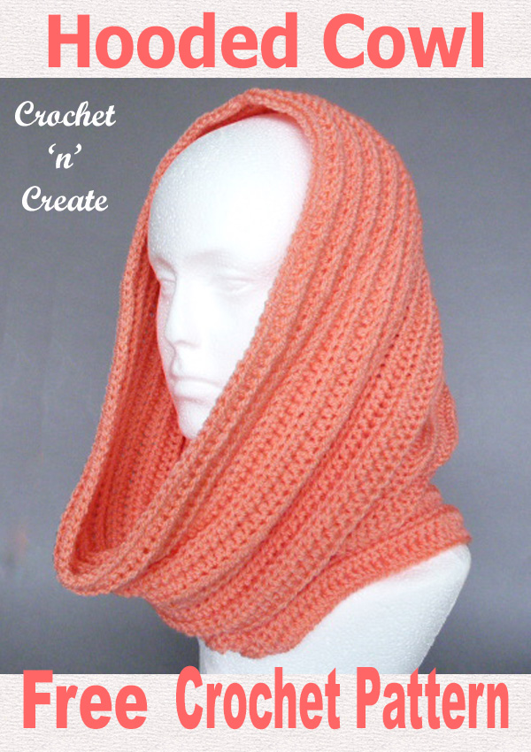 Ribbed hooded cowl free crochet pattern uk