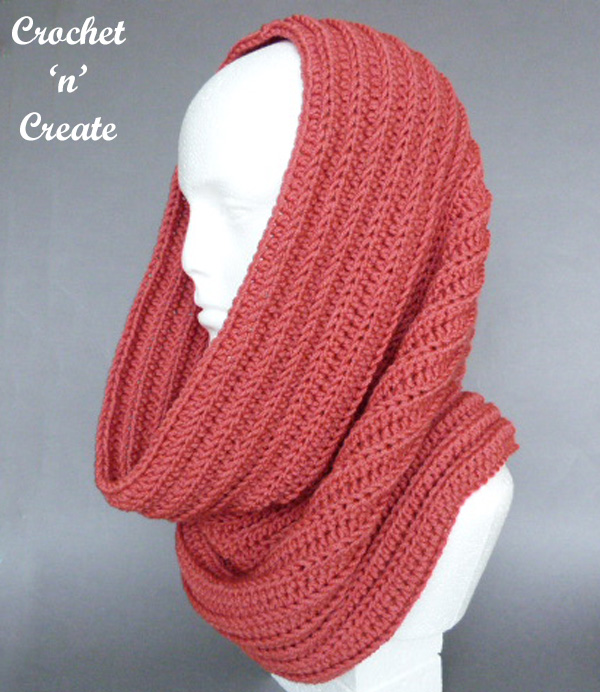 Ribbed Hooded cowl free crochet pattern
