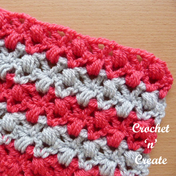 Free crochet stitch tutorial v-stitch puffs