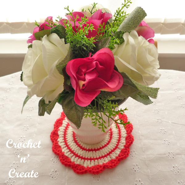Flowerpot mat free crochet pattern