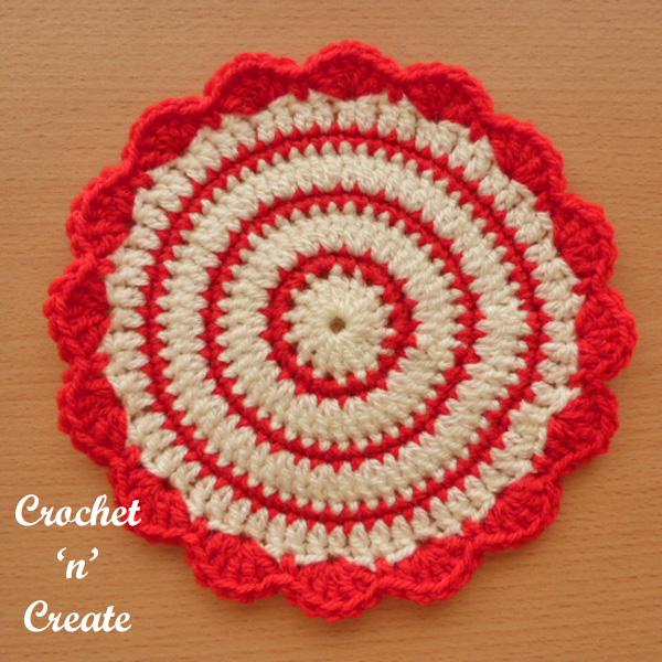 Free crochet pattern flowerpot mat