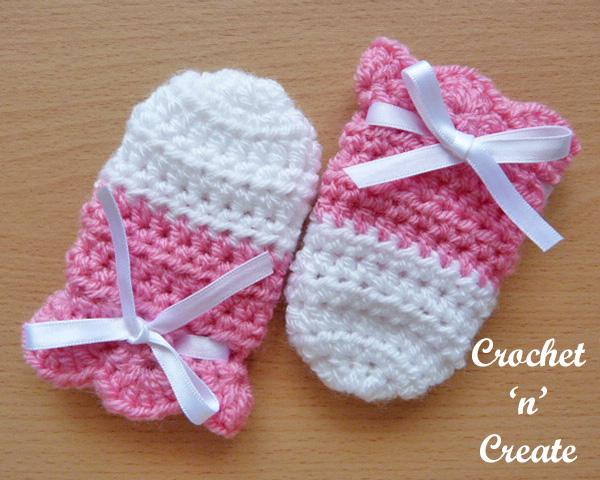 Crochet cutie baby mitts pattern