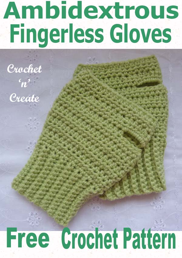 ambidextrous fingerless gloves free crochet pattern