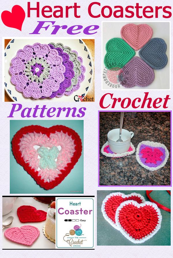 Free crochet pattern roundup heart coasters