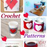 Crochet heart mug cozies