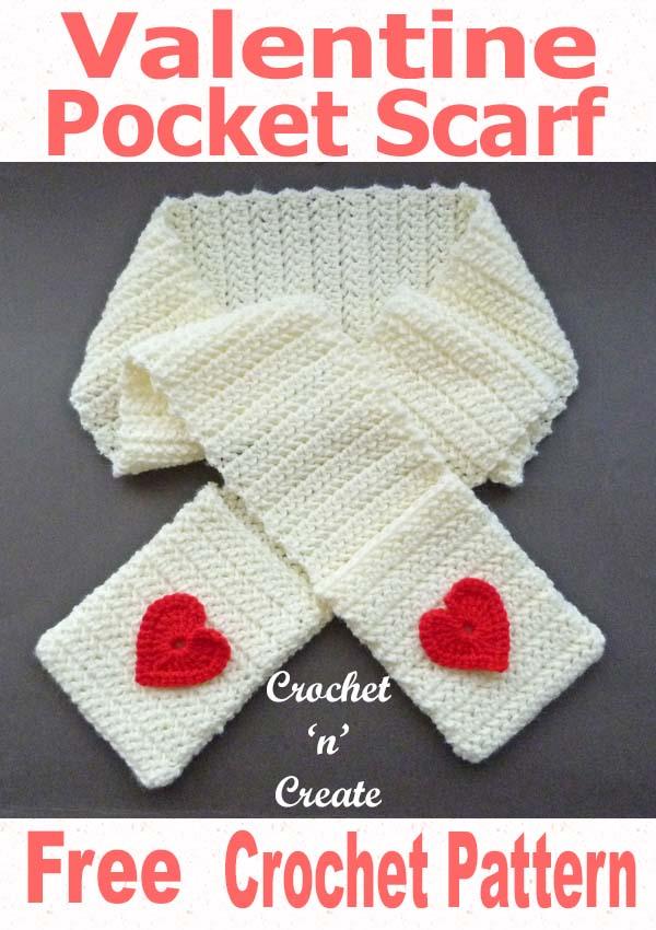 valentine pocket scarf free crochet pattern