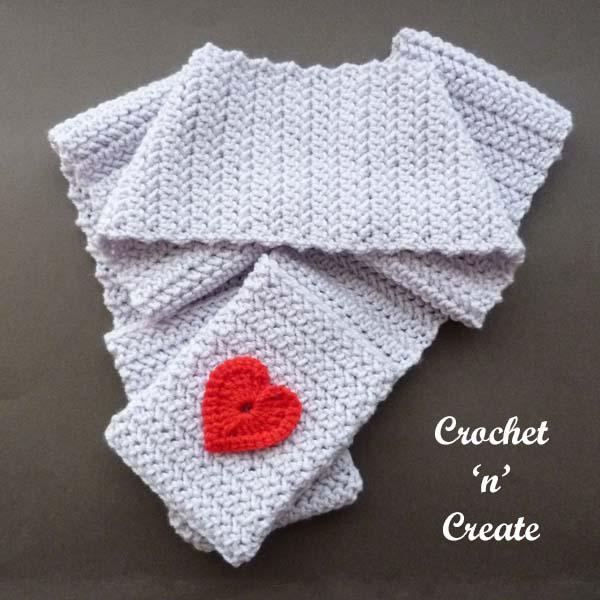 Valentine pocket scarf uk free crochet pattern