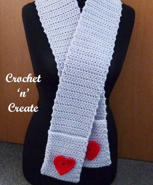 Free crochet pattern valentine pocket scarf uk
