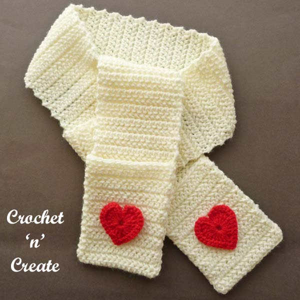 valentine pocket scarf crochet pattern